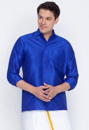 Plain Dupion Silk Shirt in Royal Blue