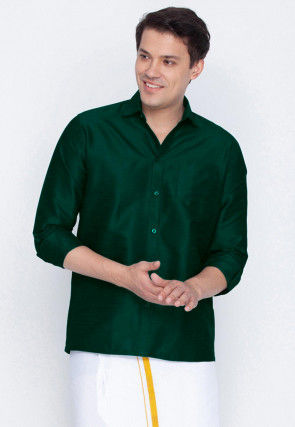 Plain Dupion Silk Shirt in Teal Green