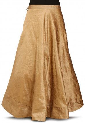 Plain Dupion Silk Skirt in Dark Beige