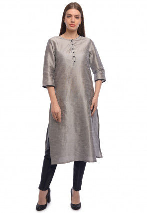 Plain Dupion Silk Straight Kurta in Grey