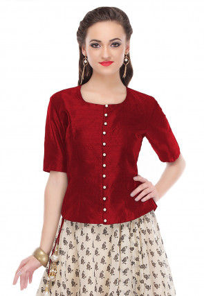 Plain Dupion Silk Top in Maroon