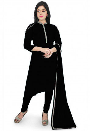 Plain Georgette A Line Suit in Black