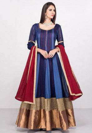 Plain Georgette Abaya Style Suit in Blue
