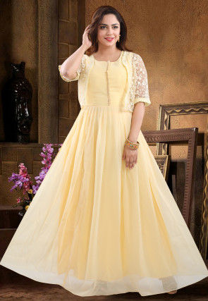 Plain Georgette Abaya Style Suit in Light Yellow