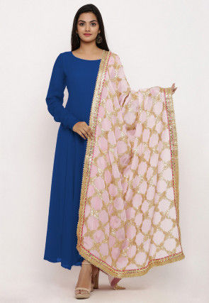 Plain Georgette Abaya Style Suit in Teal Blue