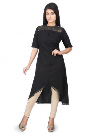 Plain Georgette Asymmetric Kurta in Black