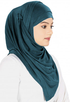 Plain Georgette Hijab in Dark Teal Blue