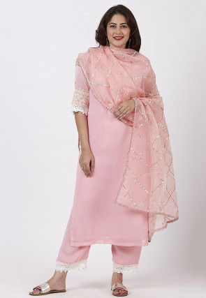 Plain Georgette Pakistani Suit in Baby Pink