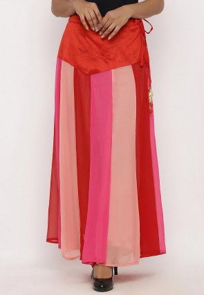 Plain Georgette Panelled Skirt in Multicolor