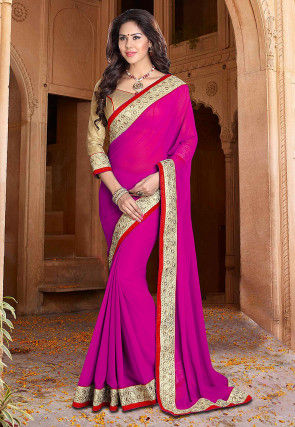 Plain Georgette Saree in Fuchsia