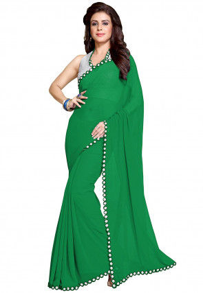 Plain Georgette Saree in Green