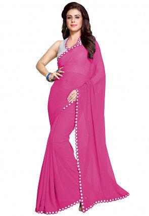 Plain Georgette Saree in Pink