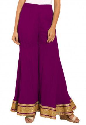 Plain Georgette Sharara in Dark Purple