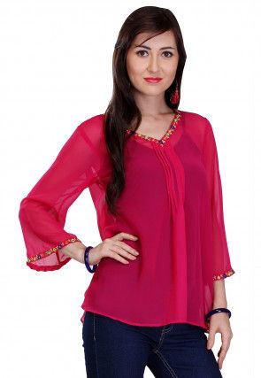 Plain Georgette Top in Fuchsia
