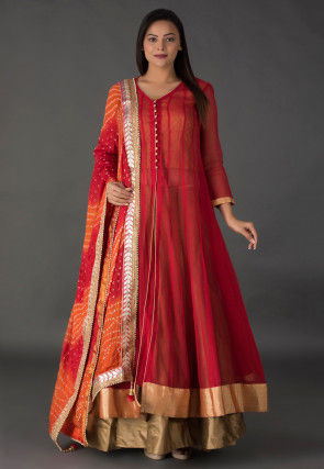Plain Jute Net Lehenga in Red