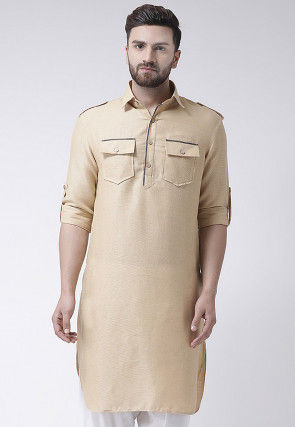 Plain Jute Silk Kurta in Beige