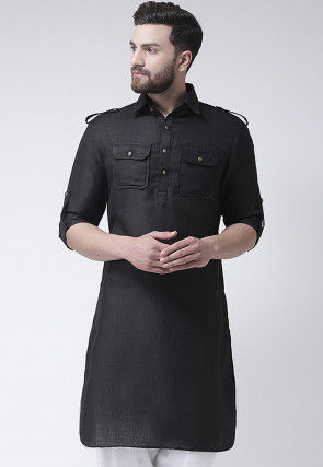 Plain Jute Silk Kurta in Black