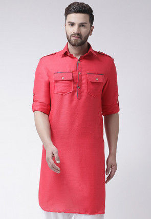 Plain Jute Silk Kurta in Coral Pink