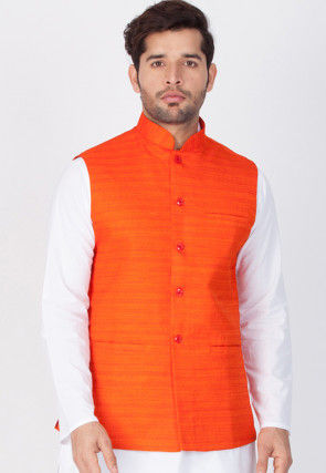 Plain Cotton Nehru Jacket in Orange
