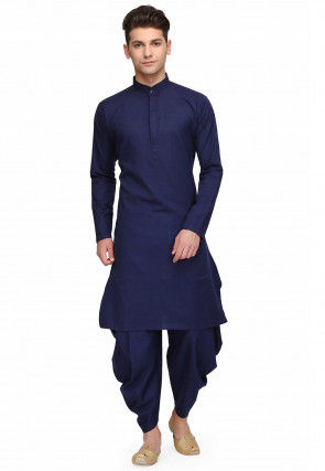 Plain Kurta Set in Navy Blue