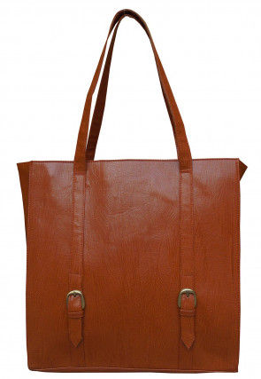 Plain Leather Hand Bag in Brown