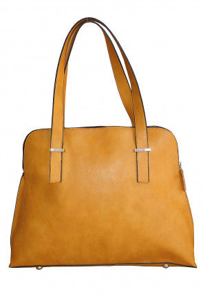 Plain Leather Hand Bag in Mustard
