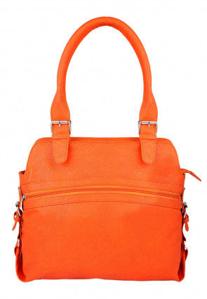 Plain Leather Hand Bag in Orange