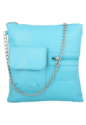 Plain Leather Sling Bag in Light Blue