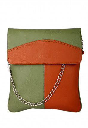 Plain Leather Sling Bag in Olive Green and Orange