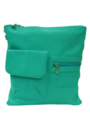 Plain Leather Sling Bag in Teal Green