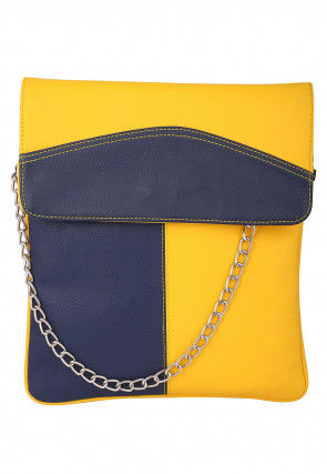 Plain Leather Sling Bag in Yellow and Navy Blue