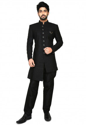 Plain Linen Asymmetric Jodhpuri Suit in Black