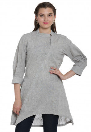 Plain Linen Cotton Asymmetric Tunic in Light Grey