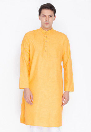 Plain Linen Cotton Kurta in Light Orange