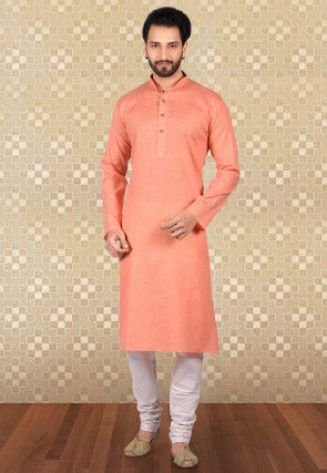 Plain Linen Cotton Kurta Set in Peach