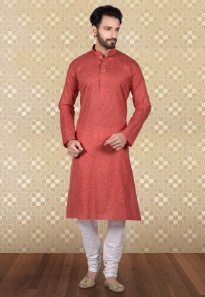 Plain Linen Cotton Kurta Set in Coral Red