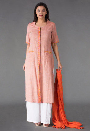 Plain Linen Cotton Pakistani Suit in Peach