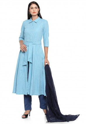 Plain Linen Pakistani Suit in Light Blue
