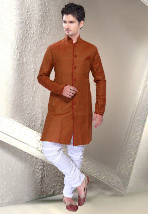 Plain Linen Sherwani in Rust