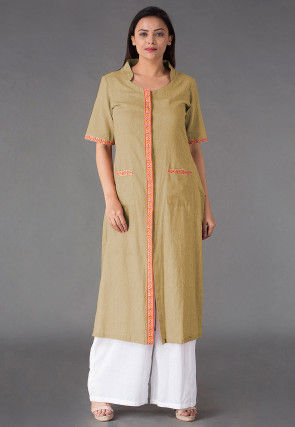 Plain Linen Straight Kurta Set in Beige