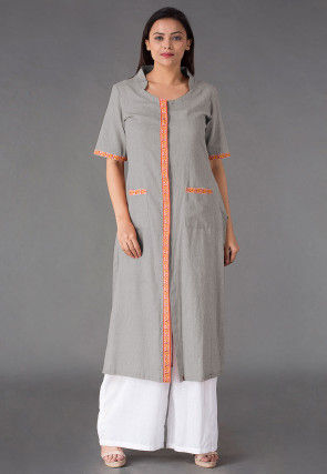 Plain Linen Straight Kurta Set in Grey