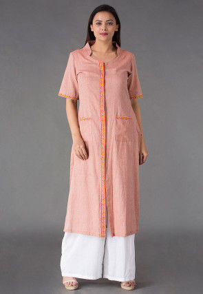 Plain Linen Straight Kurta Set in Peach