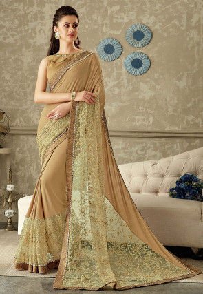 Plain Lycra Saree in Beige