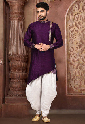 Plain Matka Silk Dhoti Kurta in Dark Purple
