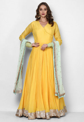 Plain Muslin Cotton Abaya Style Suit in Yellow