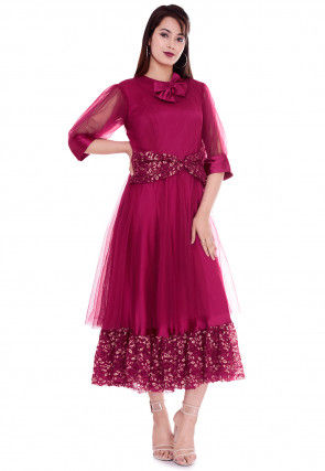 Plain Net A Line Dress in Magenta