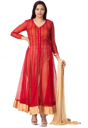 Plain Jute Net Anarkali Suit in Red