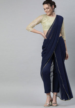 Plain Net Crop Top with Palazzo attachable dupatta in Navy Blue