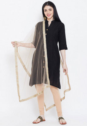 Plain Net Dupatta in Beige