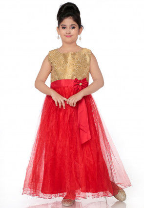 Plain Net Flared Gown in Red and Beige